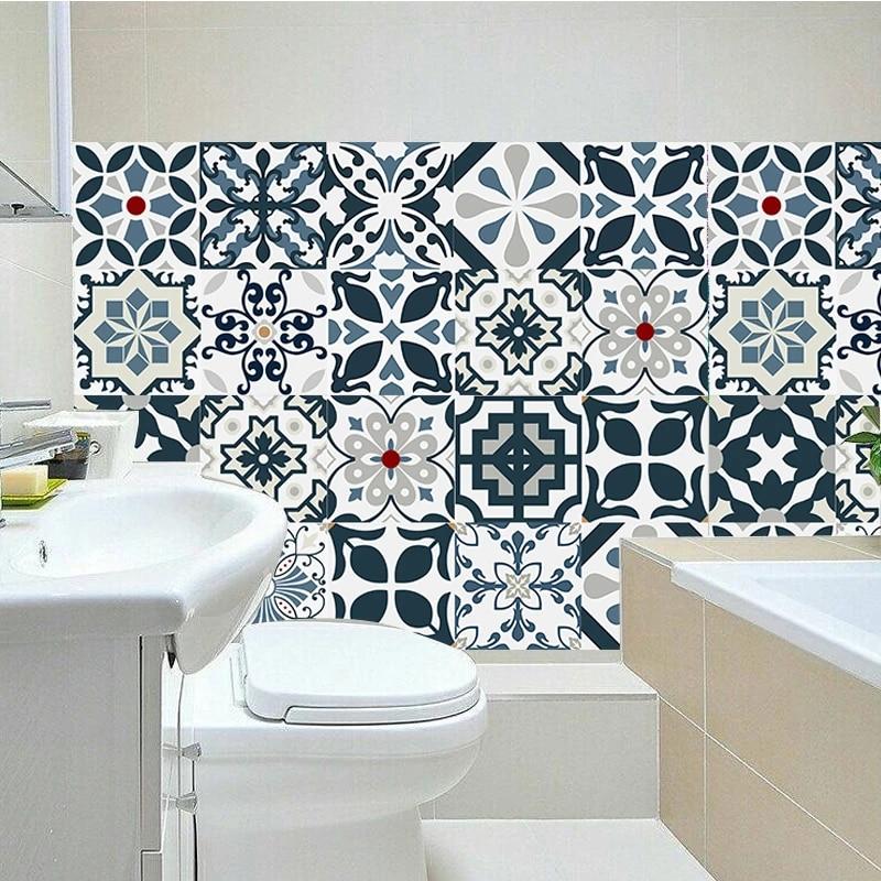 3d retro pattern tile sticker pvc bathroom kitchen waterproof mosaic wall vinyl tile stickers home decor tv sofa wall art mural