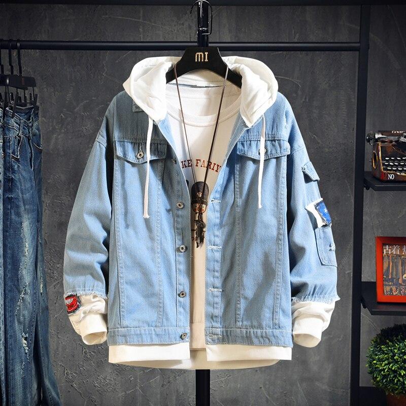2020 Hooded Denim Jacket Men's Hip Hop Jeans Coat Retro Jean Jacket Street Casual Bomber Jacket Outerwear Hoodies