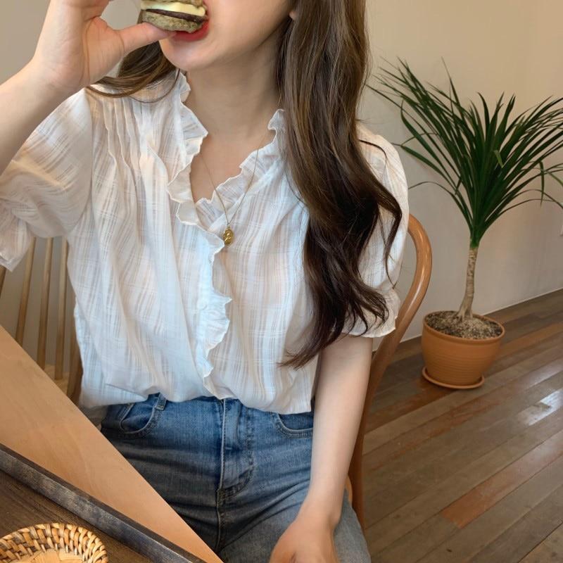 White Ruffles Summer Blouse Women Flare Short Sleeve Vintage Elegant Sexy Top Shirt V-Neck Korean Shirts Single Breasted V152
