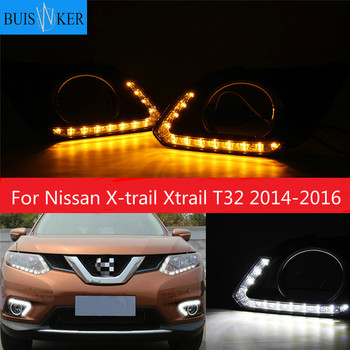 For Nissan X-trail Xtrail T32 2014 2015 2016 Yellow Signal Function Relay Waterproof 12V Car DRL LED Daytime Running Light