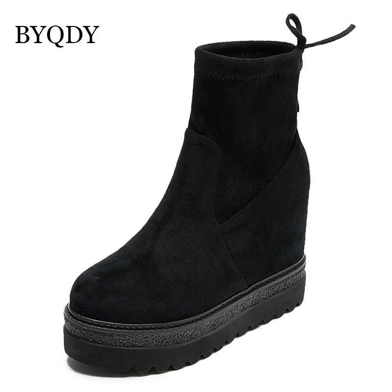 BYQDY Vrouw Herfst Winter Laarzen Designer Ronde Neus Mode Kudde Dikke Hakken Suede Rubber Laarzen met Bont Binnenkant Enkellaars