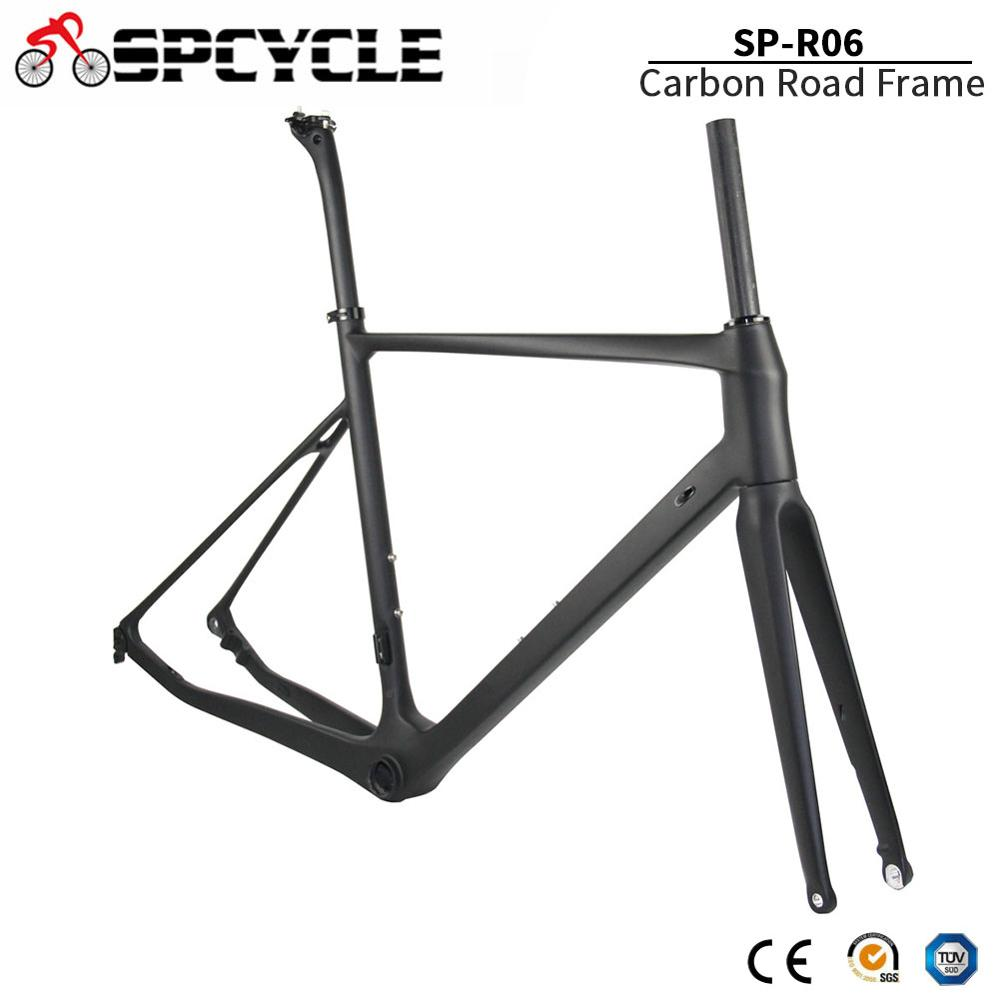Spcycle Disc Brake Carbon Road Bike Frames T1000 Carbon Fiber Road Bicycle Frameset Thru Axle Front 100x12mm Rear 142x12mm