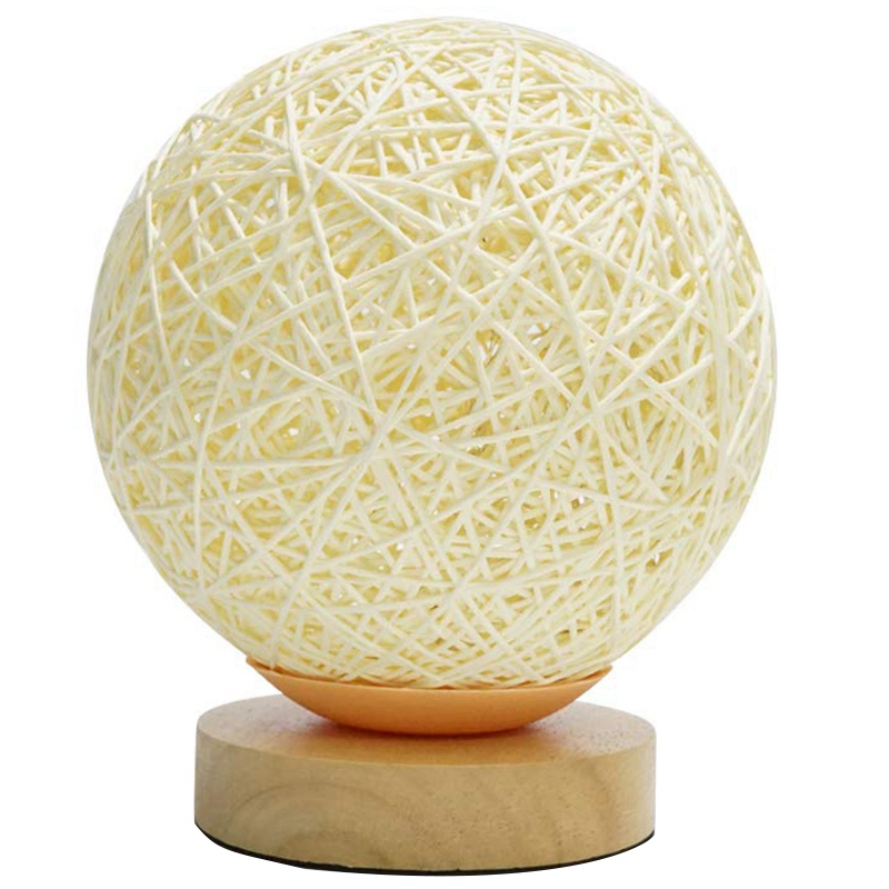 Table Lamp Bedside Lamp Gift For Children Lady Gift Rattan Ball Style Button Bedroom Living Room Girl Boy