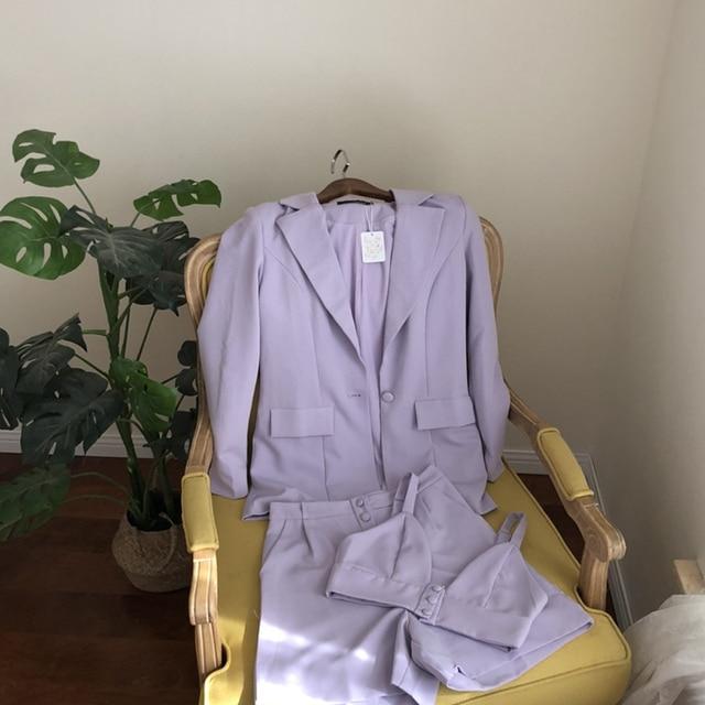 Teenage Dream Shorts Lilac Western style retro temperament purple small suit jacket vest + wide leg shorts crop top 4