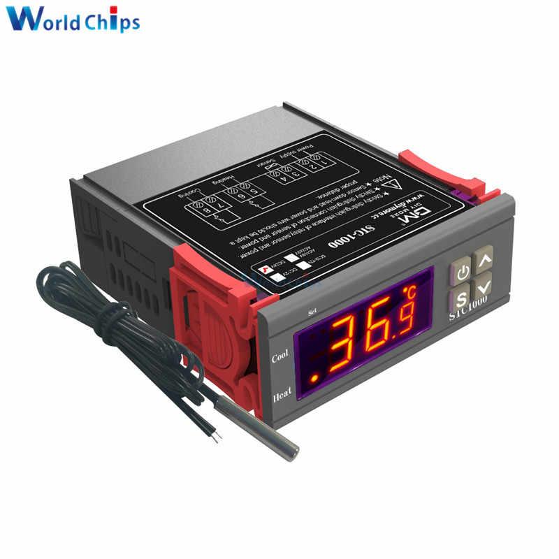 Ca/cc 12V 24V cc 12 V-72 V ca 110 V-220 V LED contrôleur de température numérique Thermostat incubateur avec chauffage et refroidisseur STC-1000