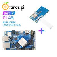 Orange Pi 4B + expansión PCIE de 4GB DDR4 + 16GB EMMC RK3399 NPU SPR2801S Placa de desarrollo