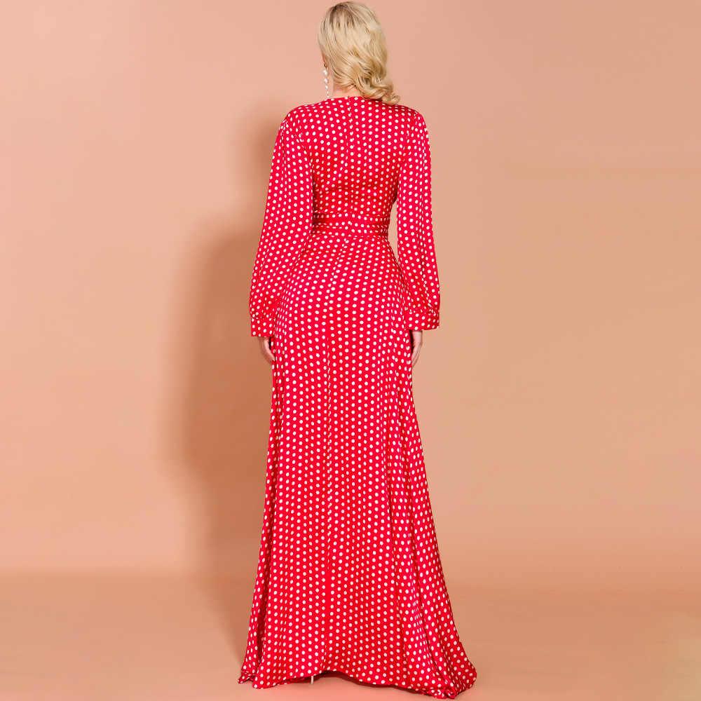 جديد 2019 مجاني الشحن ، فستان سهرة طويل ماكسي طويل للشتاء للنساء ، أصفر وأبيض ، أحمر وأبيض منقط ، فستان حفلات الكريسماس
