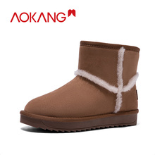 AOKANG 2019 Snow Boots Woman Winter Flock Warm Shoes Women Comfortable Plush Insole Ankle Flat Boats Lady