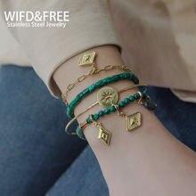2021 moda de aço inoxidável combinação jóias bijoux feminino contas pulseira diy combinação banhado a ouro pulseiras presente para amigos