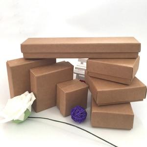 Image 5 - Caixa De Papel Kraft Para Jóias 50 pçs/lote Caixas de Caixas De Jóias Anel Brinco Colar Pingente caixa de Jóias Organizador
