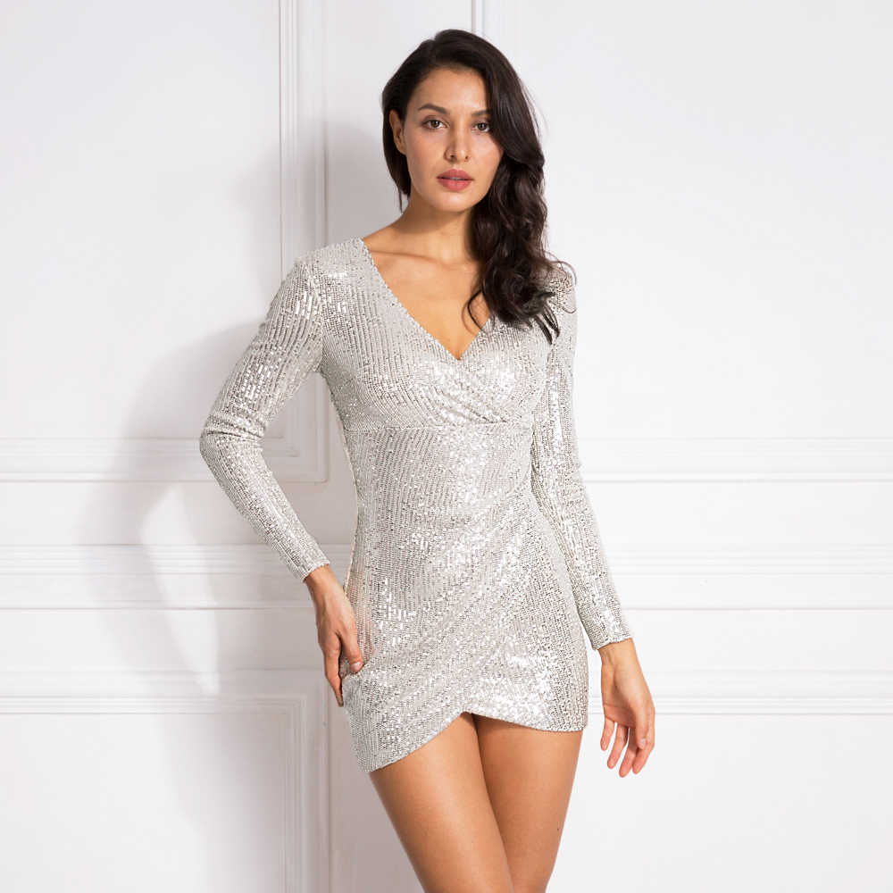 V Neck Pleated Silver sequined Mini Dress Autumn Party Dress Full Sleeved Short Bodycon Night Club Dress