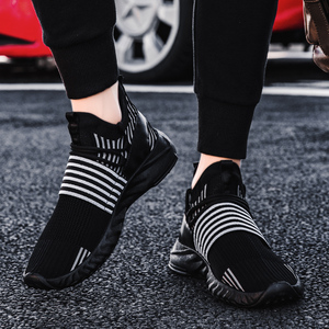 Image 5 - Socke Schuhe Mesh Turnschuhe Neuheiten Casual Flache Müßiggänger Mode Tenis Masculino Adulto Atmungsaktiv Männer Turnschuhe Slip auf Schuhe