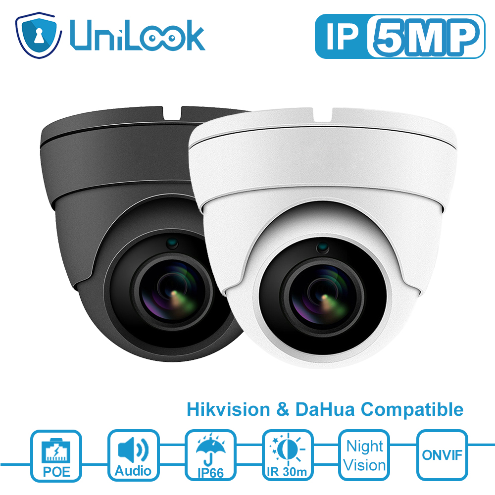 UniLook 4MP 5MP Dome POE IP Security Kamera Audio Gebaut in Mikrofon Hikvision kompatibel Outdoor CCTV Kamera IR 30m h.265