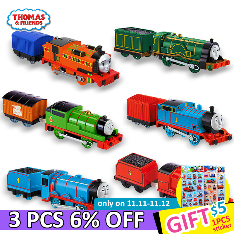 Original Electronal Thomas and Friends Electric 1:43 Diecast Trains Motor Metal Model Car Use Battery Material Kids Toys Oyuncak