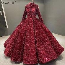 Muzułmanin Bean Pink Sequined luksusowe suknie ślubne 2020 długie rękawy Sparkle suknie ślubne Serene Hill HA2068 Custom Made