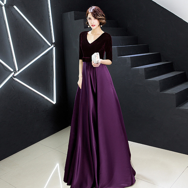 Evening Dress Velvet Top A Line Floor Length Formal Party Gowns 2020 Sexy V-Neck Half Sleeve Elegant Vestidos Women Dresses K246 1