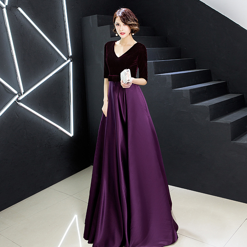 Evening Dress Velvet Top A Line Floor Length Formal Party Gowns 2020 Sexy V-Neck Half Sleeve Elegant Vestidos Women Dresses K246