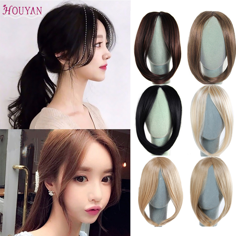 Fashion Girls Long Bangs Girls Side Bangs Fake Fringe Synthetic Clip In Hair Extensions Heat Resistant Fake Bangs HOUYAN