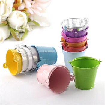 9 Color Mini Metal Bucket Wedding Decoration Candy Box Flower Pot Table Decor Birthday Baby Shower Birthday Party Supplies-S