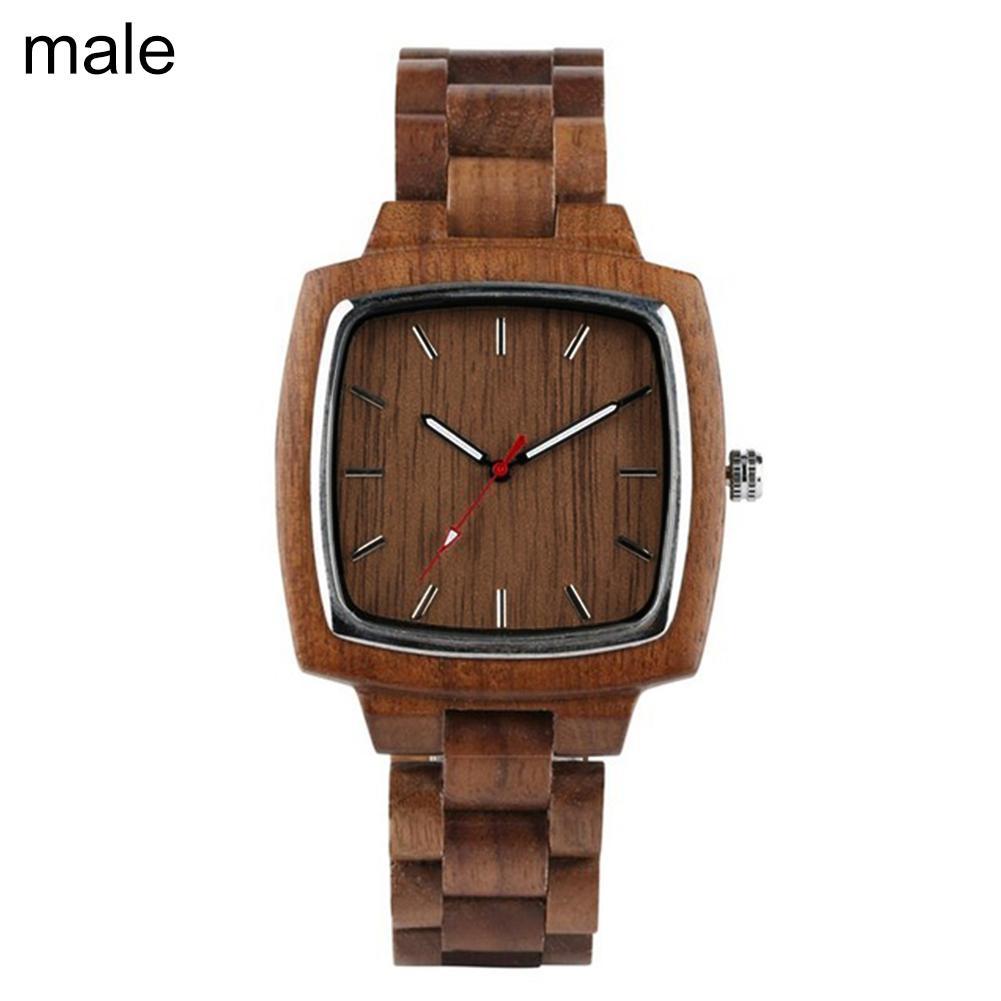 Couple Watches For Women Men Quartz Wristwatches Square Dial No Number Analog Wooden Quartz Wrist Watch Ladies Wristwatch Saati