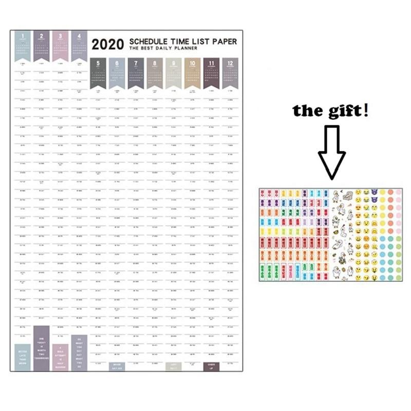 1Pcs 2020 Agenda 365 Days Paper Wall Calendar  Daily Planner Notes Very Large Study TO DO LIST Kawaii School Supplies