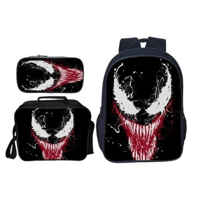 2020 Arrivals 3pcs/set Printing Hero Venom Kids Baby School Bags Spiderman Suit Bag Cartoon Children Backpacks for Boy Schoolbag