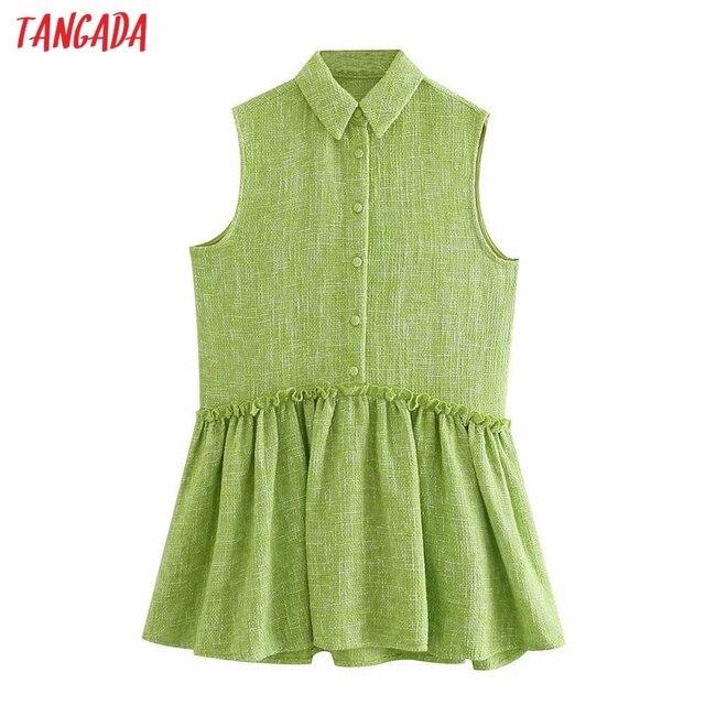 Tangada Women Green Tweed Dress Sleeveless Backless 2021 Fashion Lady Shirt Dresses 3H187 1