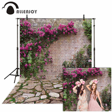 Allenjoy photophone background spring Easter garden flower vine brick wall stone floor photography studio backdrop photocall