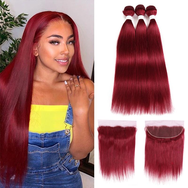 Em linha reta 3 pacotes de cabelo com laço frontal 13x4 vermelho borgonha 99j 30 brasileiro remy do cabelo humano 3 pacotes com laço closureeuphoria