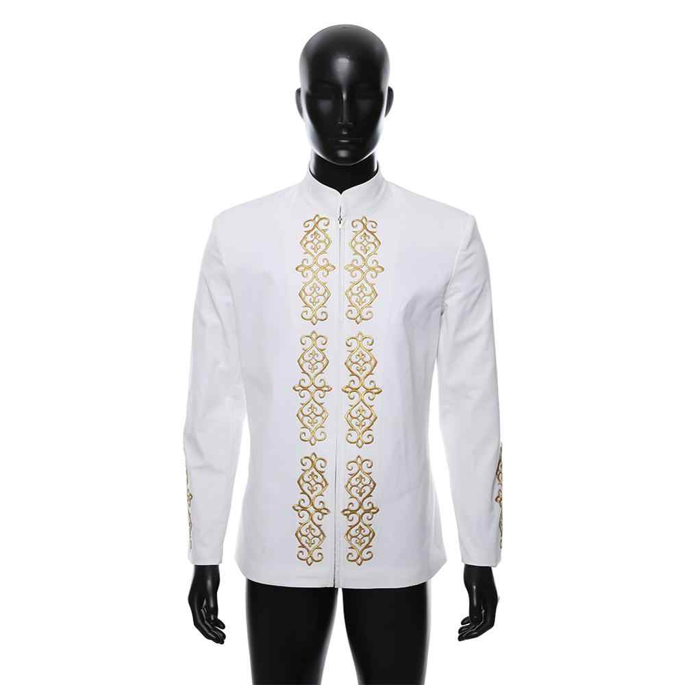 Moda Terno dos homens Adultos Traje de Luxo Bordado Camisa de Manga Longa No Outono e Inverno