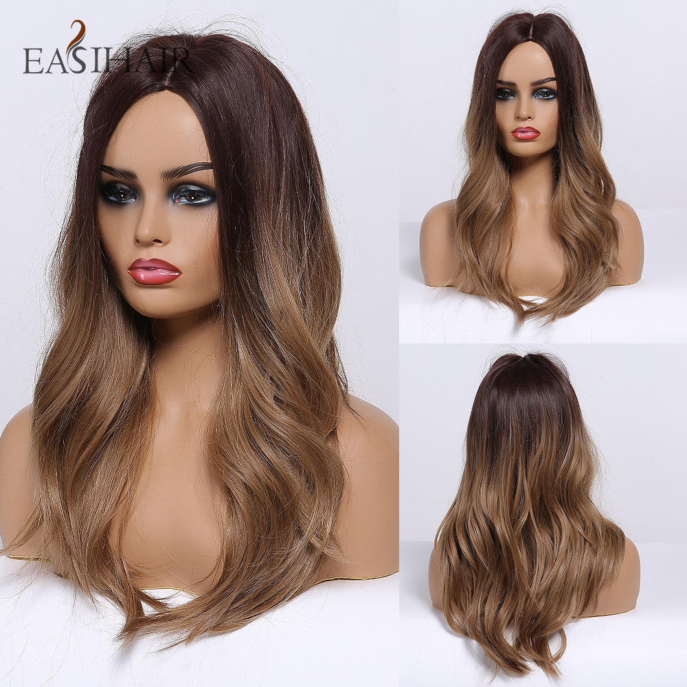 EASIHAIR Women Medium Length Brown Ombre Wigs Middle Part Wavy Synthetic Wigs Natural Hair Wigs Heat Resistant Cosplay Wig
