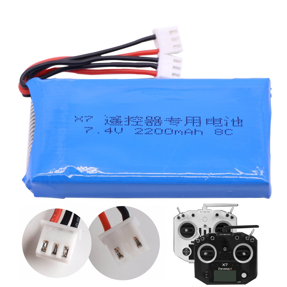 <font><b>Battery</b></font> for Taranis Q X7 Dx6e Dx6 Transmitter Spektrum DX8 RC Spare Parts 7.4V <font><b>2200mAh</b></font> <font><b>2S</b></font> <font><b>lipo</b></font> <font><b>Battery</b></font> for toys accessory image