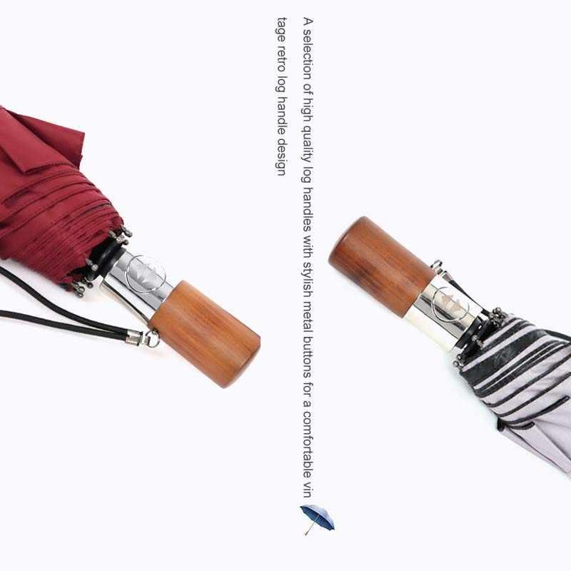 Baru Lipat Otomatis Bisnis Payung Logam Kayu Menangani Tiga Kali Lipat Payung Perlindungan Sinar UV Matahari Perlindungan Payung