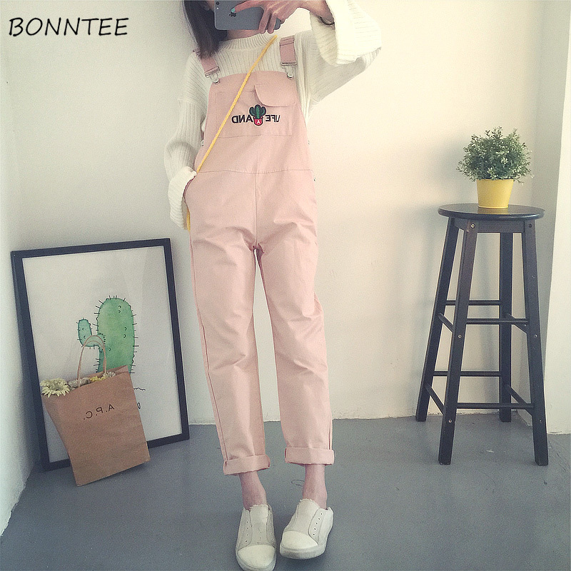 Jumpsuits Women Harajuku Students Lovely Letter Embroidery Womens Fashion Strap Playsuits Simple Leisure Slim High Waist Elegant