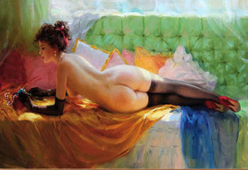 "HIGH QUALITY IMPRESSIONISM OIL PAINTING ON CANVAS NUDE GIRL"" 24""X36"