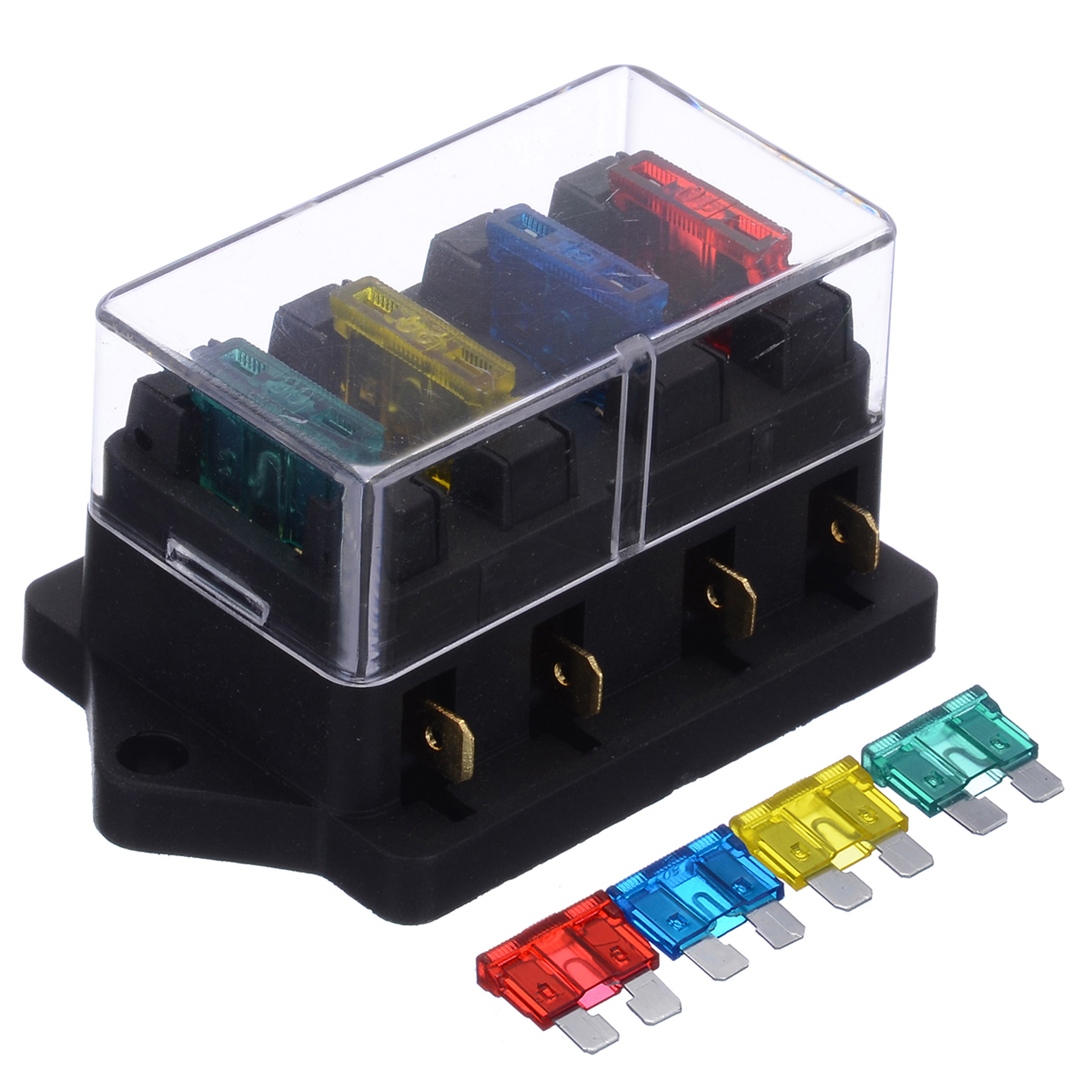 Universal 12V 4 Way Fuse Box Block Fuse Holder Box Car Vehicle Circuit Automotive  Blade Car Fuse Accessory Tool with Fuses Fuses  - AliExpressAliExpress