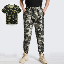 T shirt Camouflage Cargo Pants Tactics Length Trousers Men Streetwear Casual Sport Sweatpants Military Pants