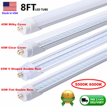 Tube-Light Led-Bulbs FA8 5000K 45W T8 Ce 96-8FT 8foot Double-Row Single-Pin 25pack V-Shaped/flat