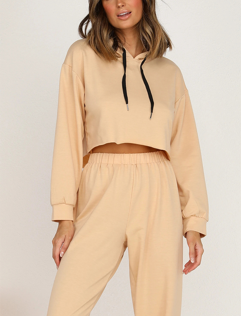 Beige Womens Tracksuit 2 Piece Set Of Crop Hooded Sweatshirt and Loose Fit High Waist Jogger Pants