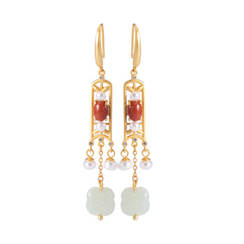 JINWATERYU S925 sterling silver ethnic style retro long temperament ladies earrings Chinese style earrings