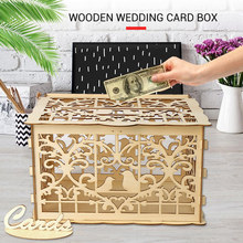 with Lock Wedding Money Box Wooden Home Decoration Party Ornament DIY Elegant Celebration Birthday Gift