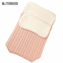 MOTOHOOD Velvet Newborn Baby Blankets Knitted stroller Swaddle Winter Fleece Baby Wrap Knitting Baby Sleeping Bag Quilt(China)