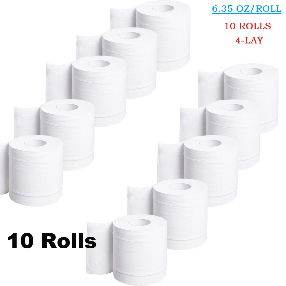 10 Roll 4 Layers Toilet Paper Roll Home Bath Paper Household Toilet Tissue Paper Roll Practical White Toilet Papers