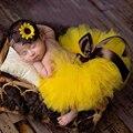Пышная юбка с изображением подсолнуха, комплект с юбкой-пачкой для девочек Детская желтая юбка-пачка с повязкой на голову, костюм для Cake Smash ...
