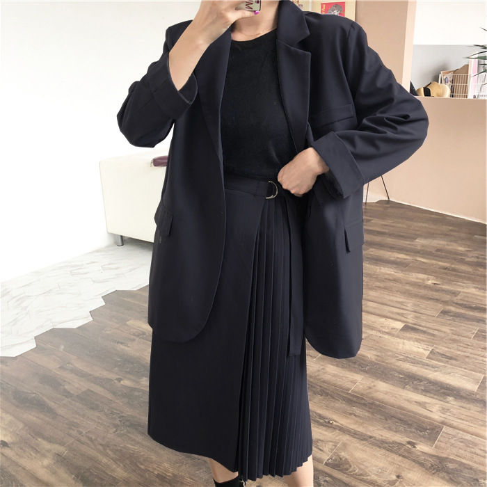 Large Size XL-5XL Ladies Suits Skirt Set High Quality Fashion Long Loose Full-sleeve Blazer Fashion Pleated Skirt Two-piece Suit