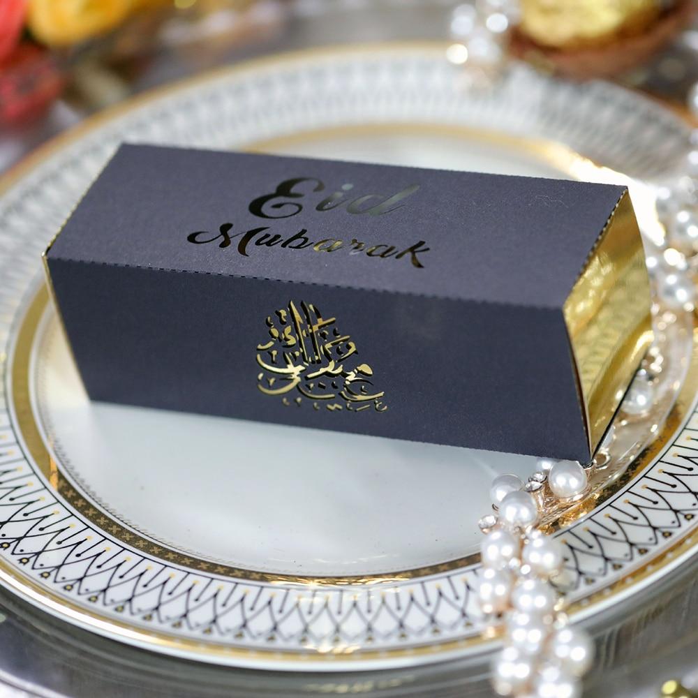 20pcs Eid Mubarak Cake Favor Boxes Laser Cut Candy Chocolates Gift Box Happy Eid Muslim Party Decor