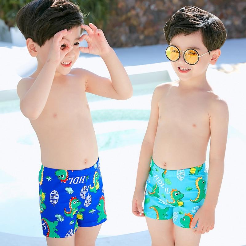 Boys'swimmingtrunks Plain Top With Drawstring CHILDREN'S Swimming Trunks Cute Dinosaur Cartoon Small CHILDREN'S Hot Springs Ba