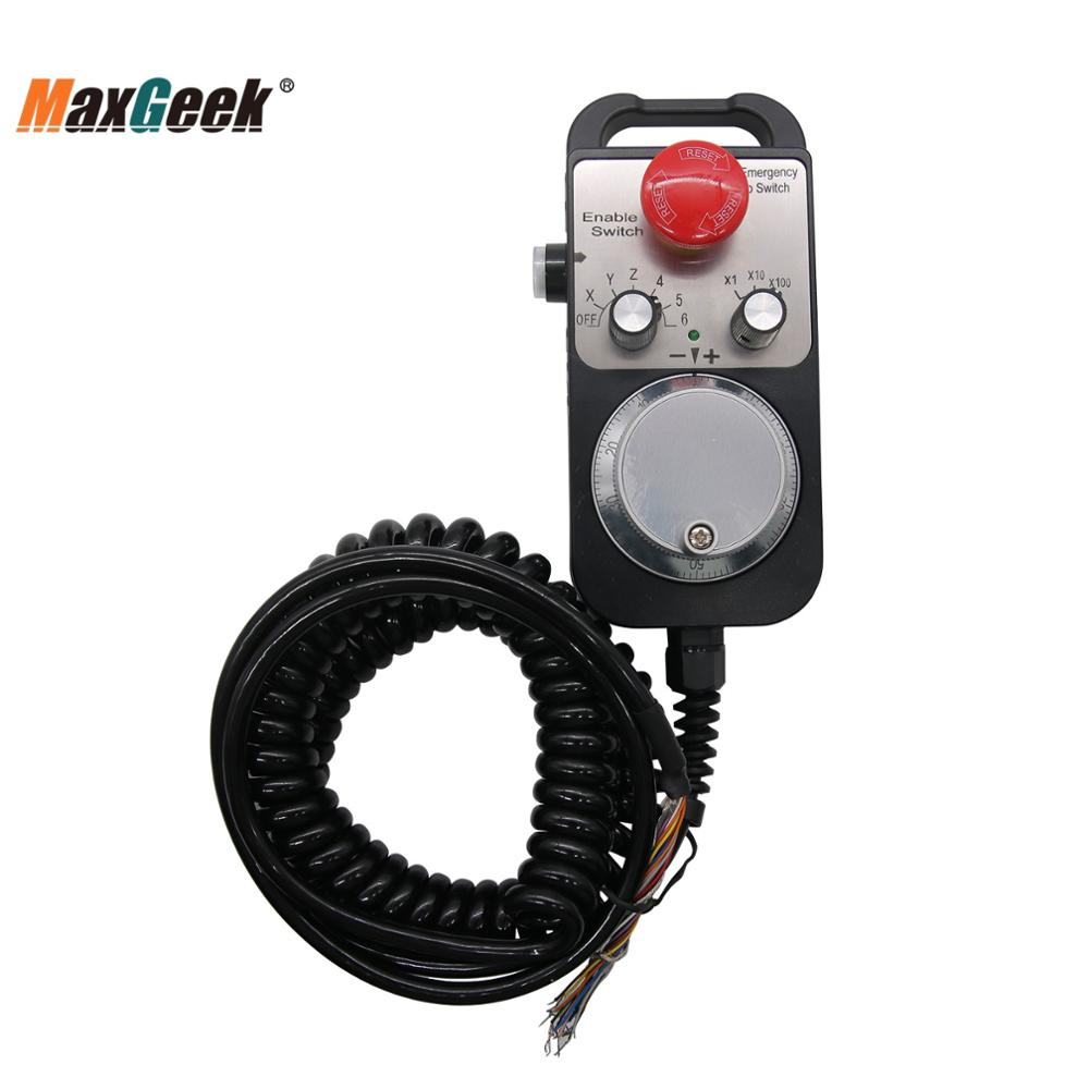 Maxgeek 6-Axis CNC Pendant Handwheel 5V 100PPR with Emergency Stop Switch Manual Pulse Generator MPG