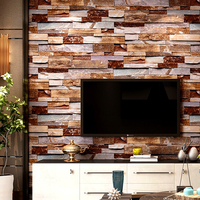 3d Brick Wallpaper Vintage Home Decor Retro Brown Waterproof Pvc Wall Paper Rolls For Shop Walls Decoration Decoracao Casa