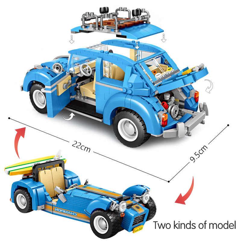 Veículo Assemable Técnica LOZ Mini Blocos de Construção Brinquedos Educativos para Crianças Beetle Creatored Carro Caminhão Da Polícia Tijolos Brinquedos